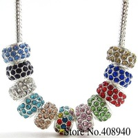 20PCS Mix Color Silver Plated Alloy+ Rhinestone Big Hole Charm Beads 5mm Fit Charms European Bracelet Free Shipping H006