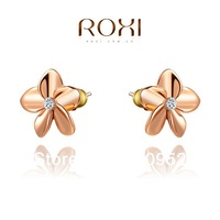 Crystal gold-plated five flower earrings