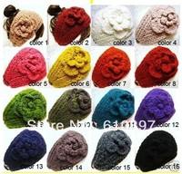 HOT 2014 Women knitted headband flower crochet headband- Handmade tenia/ Can Mixed quantity and color Free Shipping