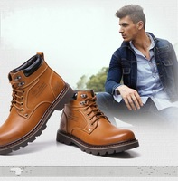 Men of new fund of 2014 autumn winters is short boots leather with Martin male free shipping size:38-44