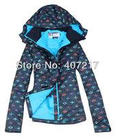 2014 womens ski jacket floral snowboard jacket ladies black background skiing jacket snow parka skiwear waterproof breathable