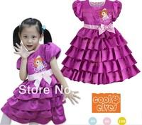 Wholesale 2014 hot new Princess Sophia Waist Bow Dress Girls 3D Tutu Layered Princess Party Bubble Sleeve Kids Formal Dress