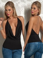 2014 New Women's Western Style Designed Sexy Sleeveless Backless Low-cut Bare Neck Back Halter Club Top All Match Vest Black