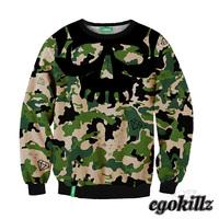 ISWAG 3D Sweatshirt Military skull Hoodie sport set/suit Desigual TOP quality women tracksuit sportswear costume sexy