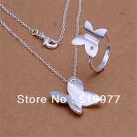 LJS348 promotion wholesale, hot sale charm 925 sterling silver jewellry set, fashion Smooth Butterfly Ring Necklace Jewelry Set