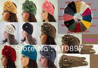HOT 2014 New Wholesale Flower rhinestone Women Lady Headband Knit Crochet Headwrap Winter Ear Warmer,20 pcs/lot,Free Shipping