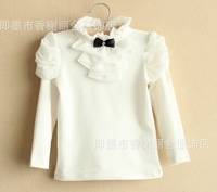 5pcs/lot 2014 spring autumn kids girl's chiffon ruffles long sleeve cotton t-shirt