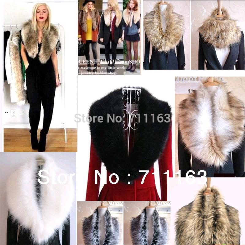 Wholesale ! 10pcs / lot Womens Fashion Luxury Trendy Faux fake fur shrugs Cool Scraf Wrap collars Sale!! Free Shipping(China (Mainland))