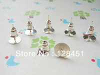 Free shipping 400 pcs Surgical Steel Stud Earnuts and 8mm Flat Pads,Silver Earring Posts with Back Stoppers