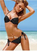 Free Shipping Wholesale High Quality discount swimwear bikini push up underwire swimsuit polka dot swimwear Y019
