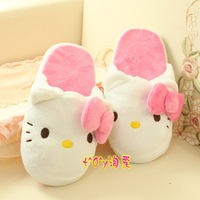 Three-dimensional bow super cute hellokitty home slippers, slip flooring Ms. warm slippers warm slippers