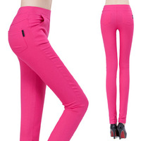 Free shipping 2014 Korean candy -colored high waist pants ,pocket ladies pencil pants women, skinny stretch pants,12 colors