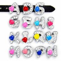 "8MM  Heart slide letters  ""O-Z"" (10 pieces/lot) Slide Charms Fit DIY Wristband & Bracelet"