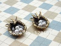 Free shipping  Flying Bird 20 pcs Antique Bronze Charm Pendants bird egg charm