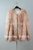 Medium-Long Candy Color Long Wool Faux Fur Coat