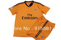 Real Madrid 2014 Jersey, 13 14 /Away/Third Orange Soccer Kit, Ronaldo Bale Ozil Isco Football Shirt/Short/Uniform/Camisetas