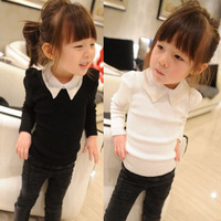 5pcs/lot pearls turn down collar long sleeve t-shirts for girls children top clothes