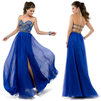 Wholesale - New Arrival 2014 Strapless Sweetheart Crystal Beaded Sexy Two Straps Back Split Front A Line Chiffon  Prom Dresses