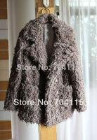 Roll circle wool fleece loose faux medium-long outerwear