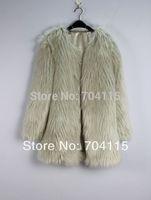 Shagginess Medium-Long Three Quarter Sleeve Fox Fur Faux Coat