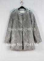 Grey Medium-Long Fur Coat