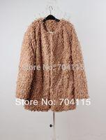 Autumn and Winter Women Roll Lamb Wool Circle Medium-Long Fur Coat