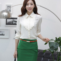 Autumn and winter female long-sleeve shirt fashion slim OL outfit tooling white shirt plus size