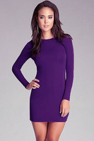 Free shipping!! New Sexy Concise Sexy Purple Hollow out Back Lace-up Mini Dress LC2991- dress women