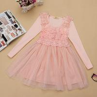 Spring 2014 girl dress gauze lace long-sleeve dress  princess dress
