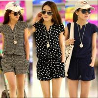 Fashion Summer Women  Casual Short Sleeve V neck Elastic Waist Jumpsuits Rompers Blue, Striped  Dots size - M,L,XL,XXL,L0523