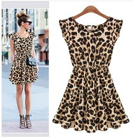 Free shipping 2014 New arrival Women's wear sleeveless round collar show thin waist leopard-print dress