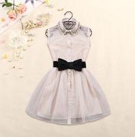 With Free bow Belt Spring Summer 2014new Fashion Sweet Little dress Diamond Lapel Waist Sleeveless Dress Gauze Tutu ,black,beige