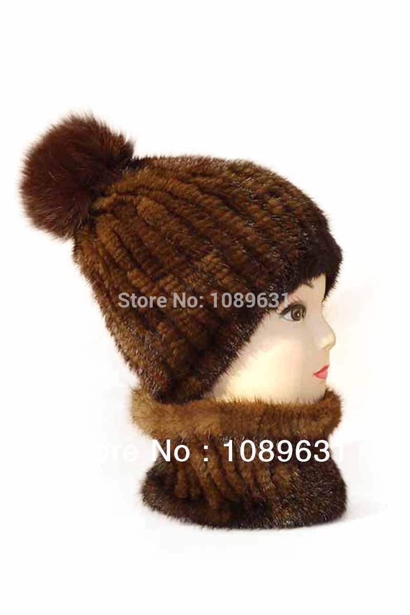 Ms warm winter hat knitted fox fur mink hair ball hat