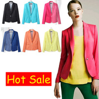 Free shipping 6 colors Womens Tunic Foldable sleeve Blazer Jacket candy color lined striped suit one button shawl cardigan Coat