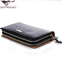 Septwolves first layer of cowhide genuine leather rivet commercial day clutch bag