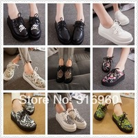 Free shipping 2014 Fashion Black Suede British Goth Punk Creepers Flats Hot Sale Lace up Skull American USA Flag Boat Shoes