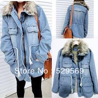 Free Shipping!Women's Thicken Jean Winter Coat Denim Faux Fur Collar Parka Warm Jacket Overcoat