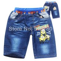 Retail baby Cartoon Minions summer boys girls denim shorts kids children fashion jeans