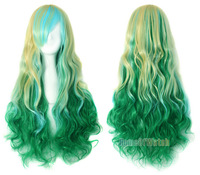 "24"" Mix Light Blonde Blue Green Ladies Cosplay Wigs Curly Wigs (NWG0CP60737-MU2)"