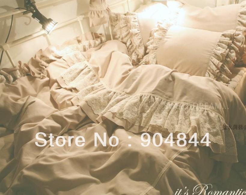 Korean mandarin duck coffee/fold ruffled lace wedding cotton princess bedding sets 4pc home textile / Comforter set/bed sheet/(China (Mainland))