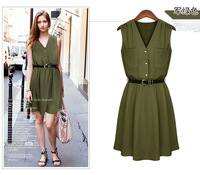 2014 European Slim Double Pocket Chiffon Dress Sleeveless Casual V-Neck Mini Dresses Button M/L/XL Plue Size Free Shipping