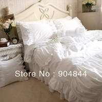 Luxury white lace ruffle bedding sets 4pcs 100% cotton,french princess home textile quilt cover/ Comforter set
