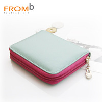 2014 NEW New Fromb genuine leather card bag women's multi card holder card package zipper short design wallet 3122603