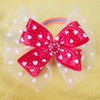 Armi store Handmade Heart pattern Ribbon Dog  Tie Collar Bow 31004 Pet Wholesale Supplies