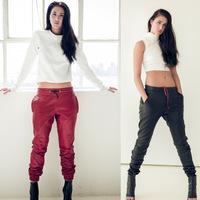 NEW Brand Red Black faux leather jogging pants faux leather sweatpants joggers pants street fashion women woman Slim pants