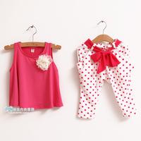 Retail NEW design 2014 new children's clothing summer set child flower female vest polka dot harem pants twinset