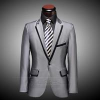 Wholesale Free shipping Custom made Groom Tuxedos Suit Men bright silk silver gray tuxedos (jacket +pants+tie)