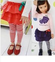 Free shipping retail wholesale spring autumn striped baby girls leggings children's pants skirt ,PP pants.Children Skirt Pants