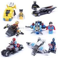 6pcs Building Blocks Super Heroes Captain America Spider Man Iron Man Wolverine Batman Superman with car building block toys