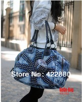 2014 new rivet punk retro wave denim handbags Shoulder Messenger bag hand handbag